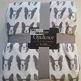 Berkshire Blanket Opulence Plush Blanket White Dogs on Gray Animal Bedding Full/ Queen 90 x 90