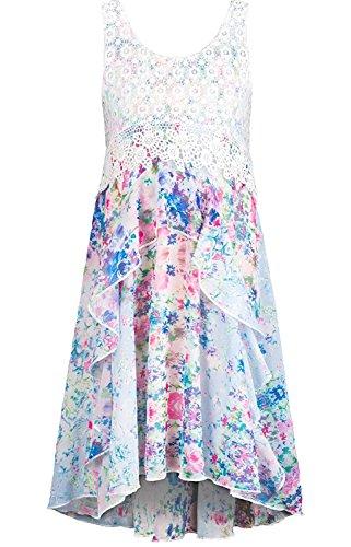 Truly Me, Big Girls Tween Cascading Ruffle Chiffon Dress, 7-16 (14, White Multi) -