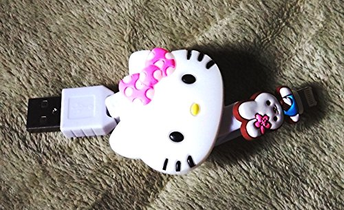 CJB Hello Kitty Lovely USB Data Sync Charger Retractable Cable for Samsung Blackblurry