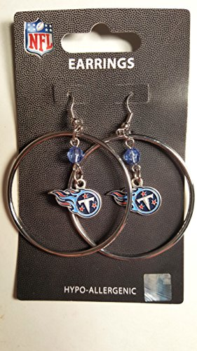 NFL Tennessee Titans Color Bead Hoop Earrings (Nfl Titans Tennessee Crystal)