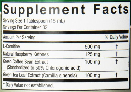 Nature's Answer L Carnitine Raspberry Ketones Green Coffee Bean with Green Tea Supplement, 16 Ounce