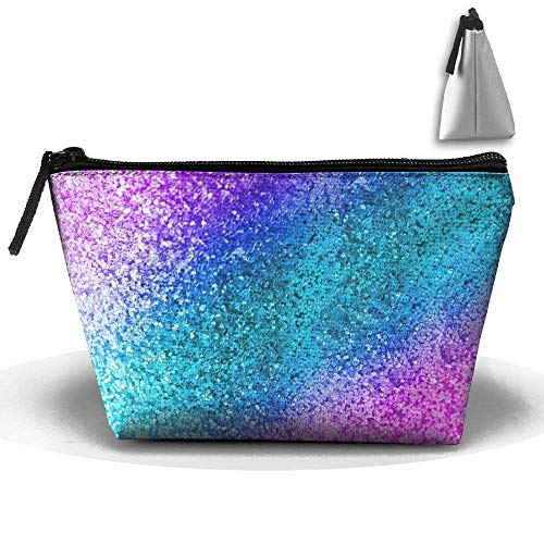 - Sparkling Blue Pink 3D Digital Printing Waterproof Trapezoidal Bag Cosmetic Bags Makeup Bag Large Travel Toiletry Pouch Portable Storage Pencil Holders