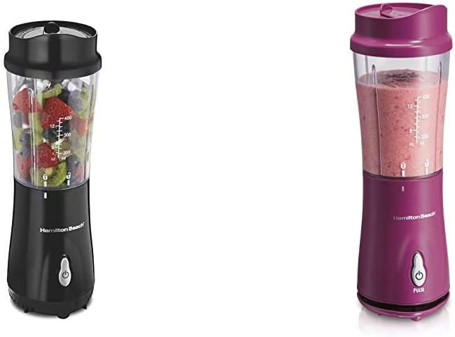 Hamilton Beach Personal Blender for Shakes and Smoothies with 14oz Travel Cup and Lid, Black (51101A & Personal Blender for Shakes and Smoothies with 14oz Travel Cup and Lid