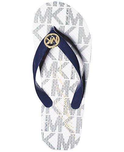 - Michael Michael Kors Women's MK Flip Flop (10 B(M) US, White/Navy/Gold Logo)