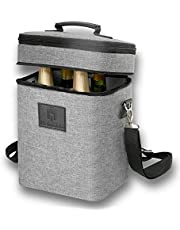 HAMILO 4 Bottle Wine Carrier, Waterproof and Leakproof Wine Tote Bag with Expandable Zipper and Padded Shoulder, Insulated Champagne Cooler Purse with Corkscrew Opener Holder