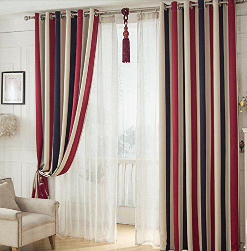 IYUEGO Classic Stripe Printing Grommet Top Room Darkenning Curtains Draperies With Multi Size Customs 100″ W x 102″ L (One Panel)