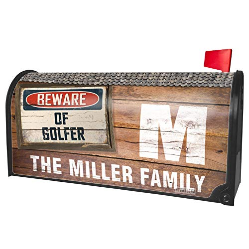 NEONBLOND Custom Mailbox Cover Beware of Golfer Vintage Funny Sign