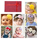 Baby Girl Hair Bow Flower headbands Newborn Infant Hair Accessories With Gift Box (7pcs different style set 1)