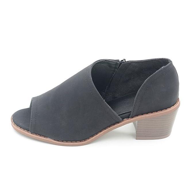Darringls_Zapatos para Mujer,Zapatillas Peep Toe Mujer Botines Zapatos de tacón Alto Sandalias con Cremallera: Amazon.es: Ropa y accesorios