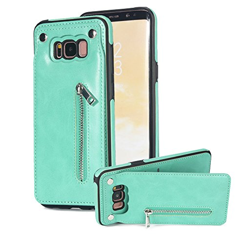Vertical Up Down Open Case for Samsung Galaxy S8 Plus, Aearl PU Leather Back Flip Clasp Zipper Wallet Card Holder Purse Cover Magnetic Kickstand Protective Shell for Samsung Galaxy S8 Plus -Mint Green