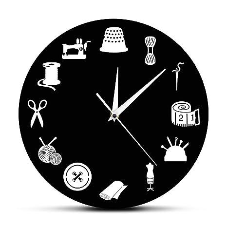 hysxm Sala De Costura Decoración Reloj De Pared Moderno Sala De Manualidades Reloj Profesional Reloj De