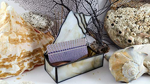 Handmade Stained Glass Conch Shell Candle Business Card Holder Seashell Glass Art -