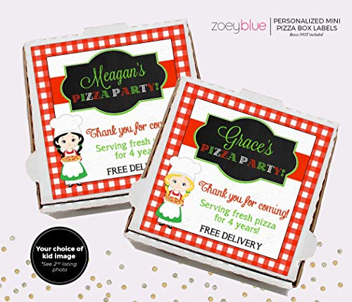 Birthday party favor mini 4 x 4 Pizza Box printable label PDF download