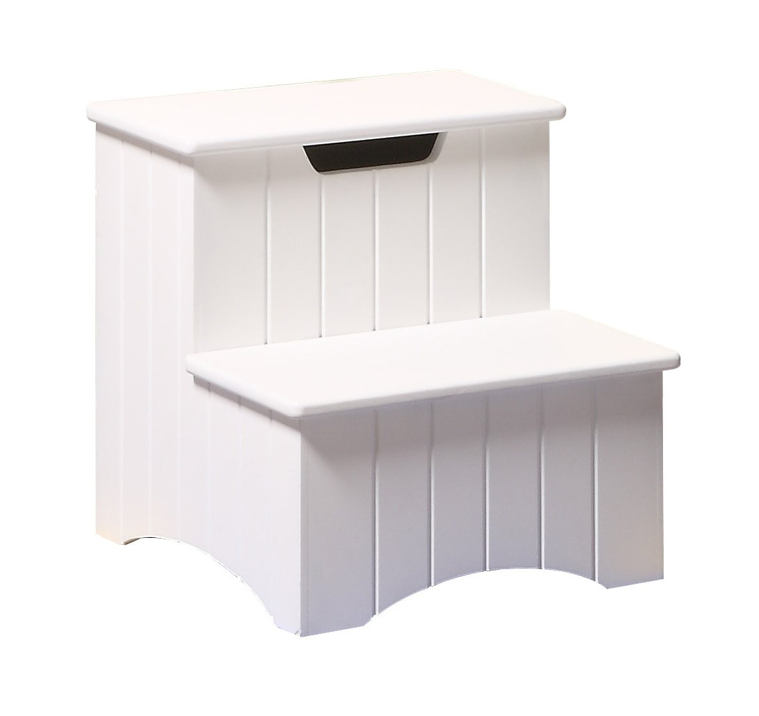 Kings Brand White Finish Wood Bedroom Step Stool with Storage Kings Brand Furniture FBA/_Seller SKU 31W stool