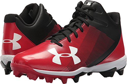 Under Armour Men's Leadoff Mid RM Baseball Cleat Black/Red Size 9.5 M US