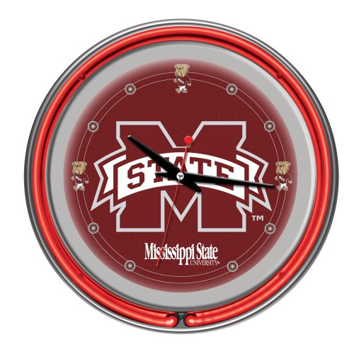 NCAA Mississippi State University Chrome Double Ring Neon Clock, (State Neon Wall Clock)