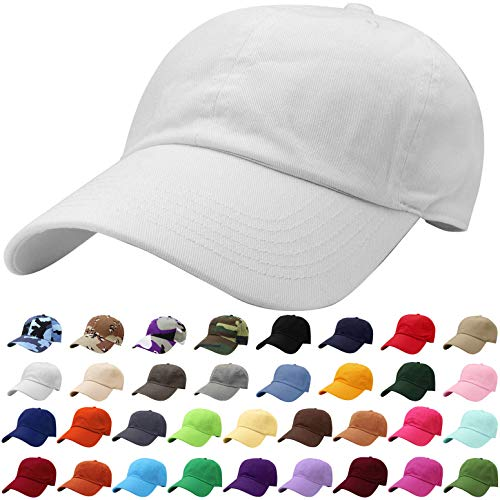 Falari Baseball Cap Hat 100% Cotton Adjustable Size White 1805
