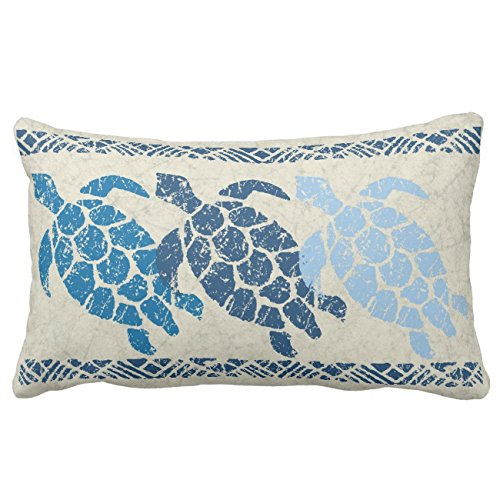 (UOOPOO Honu Sea Turtle Hawaiian Reversible Batik - Indigo Throw Pillow Case Square 12 x 20 Inches Soft Cotton Canvas Home Decorative Wedding Cushion Cover for Sofa and Bed Print On One Side)