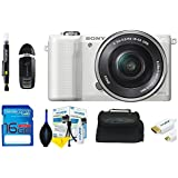 Sony Alpha a5000 Mirrorless Camera with 16-50mm Retractable OSS Lens, Built-in Wi-Fi and NFC and 3 Tiltable Touchscreen (White) + 16 GB Card + Accessories