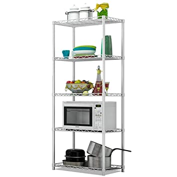 Microwave Stands for Kitchens, FOME 5 Tier Kitchen Microwave Shelf Storage  Rack Strong Mesh Wire Metal Shelves Microwave Work Station Shelf Kitchen ...
