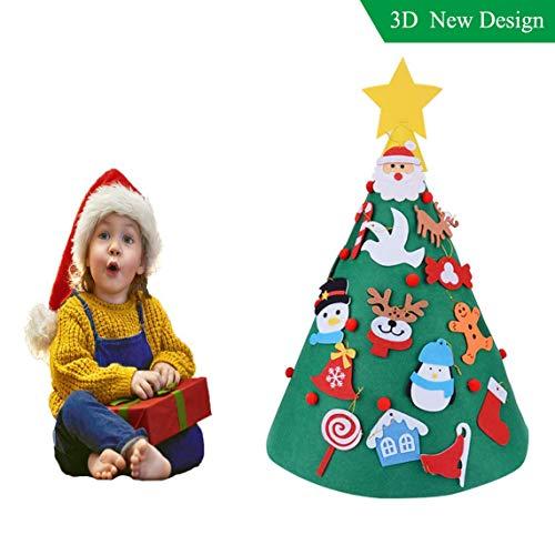 3D DIY Felt Christmas Tree Upgraded Toddler Christmas Tree Hanging Ornaments Kids Xmas Gifts