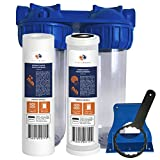 Aquaboon 2-Stage Universal 10'' Valve-in-Head Whole House Water Filtration System, Includes Polypropylene Sediment & Coconut Shell Carbon Cartridges (3/4'' Inlet/Outlet Brass Port)