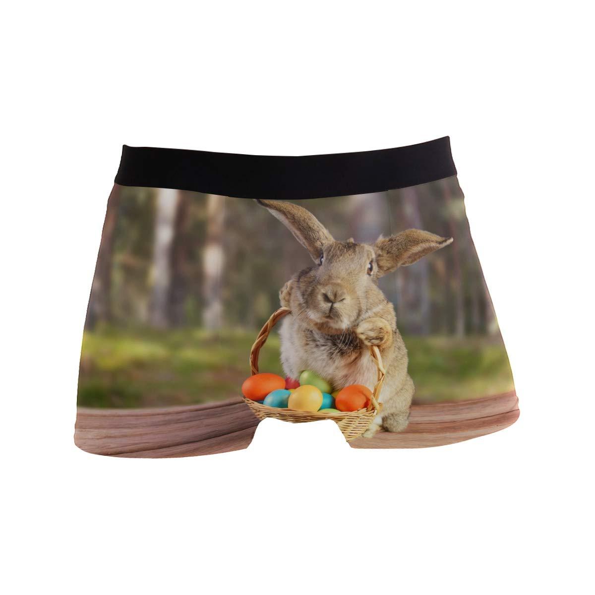 Rabbit Easter Eggs Mens Underwear Soft Polyester Boxer Brief for Men Adult Teen Children Kids S