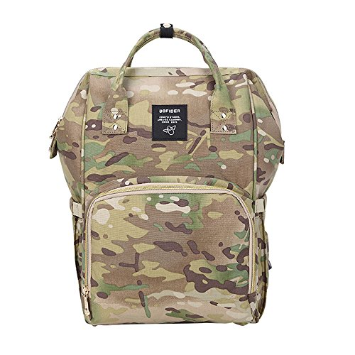 Gizwise Camo Backpack Diaper Bag for Women Men Insulated Toddler Travel Backpack with Stroller Hook ()