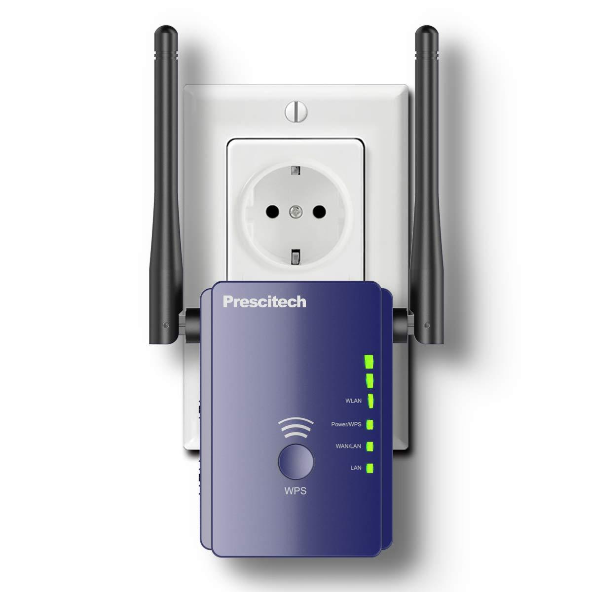 Coredy WLAN Verstä rker, Prescitech E300 Mini WLAN Repeater Signal WLAN Verstaerker (300 Mbit/s, 2 LAN-Ports, WPS, kompatibel mit Allen WLAN Gerä ten, Geeignet fü r Deutschland)