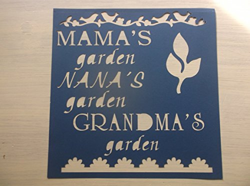 Vintage look MAMA'S GARDEN...NANA'S GARDEN...GRANDMA'S GARDEN...BIRD BORDER....FLOWER BORDER... cardstock STENCIL ASK 4 CUSTOM SIZES AND WORDS farmhouse primitive old timey