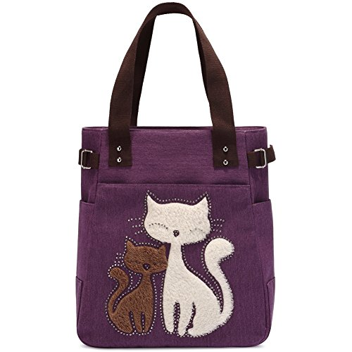- Women Canvas Handbag Kaukko Shoulder Bag Cat Big Tote Bag Purple