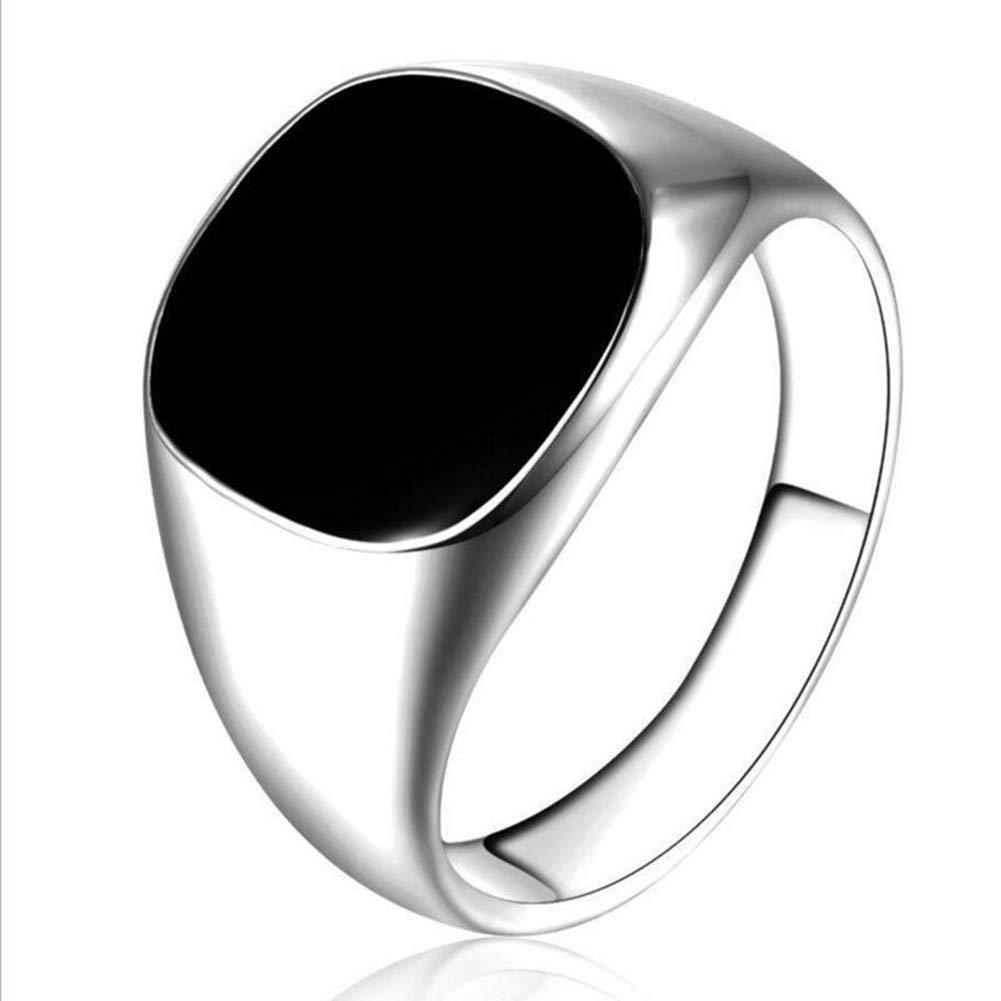 Himpokejg Men Solid Polished Stainless Steel Band Biker Signet Ring Finger Jewelry Gift Silver #12
