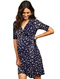 Motherhood Maternity Women's Elbow Sleeve Wrap ITY Dress with Waist Tie, Navy and Pink Floral, Small