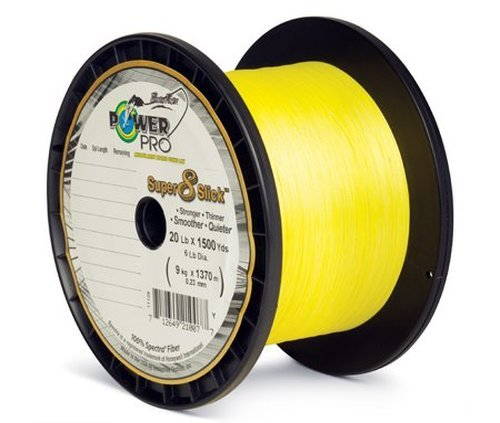 PowerPro Super 8 Slick Braided Fishing Line, 80-Pound/1500-Yard, Yellow (80 Lb Slick)