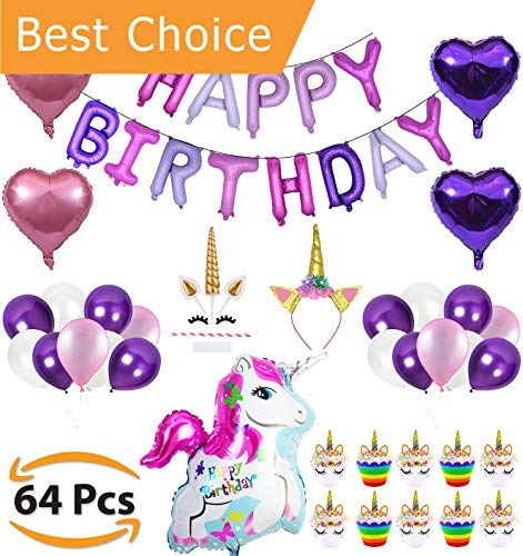 Unicorn Party Supplies Decorations for Girls - Special 64pcs Compelete Set - Happy Birthday Balloon Banner Cute Pink & Purple Latex Balloons Glitter Headband for Girl Cake Topper & Cupcake Wrapper Kit