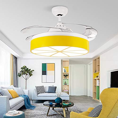 Jiawei Ceiling Fan Light with Remote Control, Creative Orange ABS Four-Leaf Ceiling Fan, Bedroom Living Room Acrylic Ceiling Light - White,36inches ()