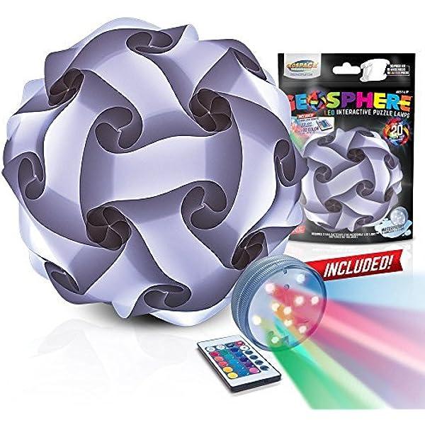 Géosphère blanc casse-tête Lampe 30 Pcs Kit Comprend Cordon d/'alimentation lumière DEL USA
