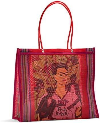 FANMEX Fantastik Sac Cabas Mexicain Frida Kahlo anses Longues (Rouge)