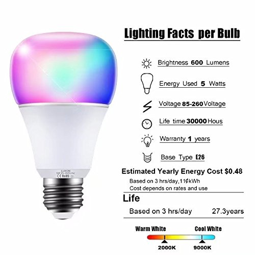 Smart WI-FI LED Light Bulb RGBW Color Changing E26 Base Smart Dimmable Light Bulb Smartphone Controlled Work with Amazon Alexa/ Google Home by LUXON by LUXON (Image #2)