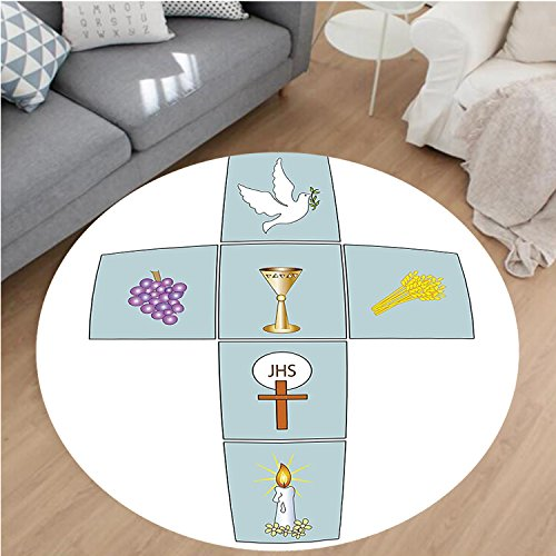 Nalahome Modern Flannel Microfiber Non-Slip Machine Washable Round Area Rug-ations Baptismal Cross Bible Faith Believing Greeting Welcoming Baptize BasIn Christ Art area rugs Home Decor-Round 67'' by Nalahome