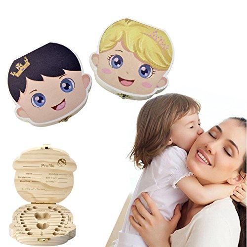 CozyCabin Baby Tooth Box, Customized Personalized Teeth Saver Wood Keepsake Organizer Deciduous Souvenir Box Baby Teeth Box (English(name customizable), Princess)