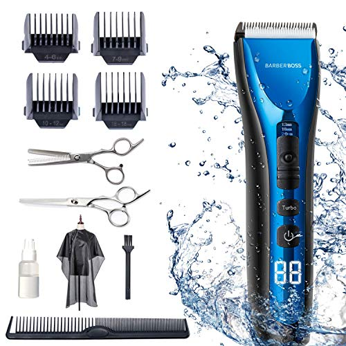 BarberBoss Professional Hair Clippers for Men Kids Family, Waterproof Hair Trimmer Cordless Rechargeable Led Display…