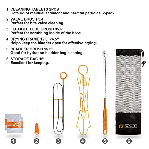 Water Hydration Bladder Cleaning Kit and Cleaning Tablets for Hydration Bladders,7 in 1 Cleaner SET Cleanig Tablets,Flexible Long Brush,Big Bladder Brush,Small Bite Valve Brush,Carrying Bag,Hanger