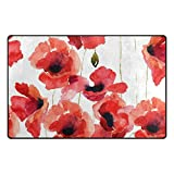 INGBAGS Super Soft Modern Stylized Poppy Flowers Illustration Area Rugs Living Room Carpet Bedroom Rug for Children Play Solid Home Decorator Floor Rug and Carpets 60 x 39 Inch Review