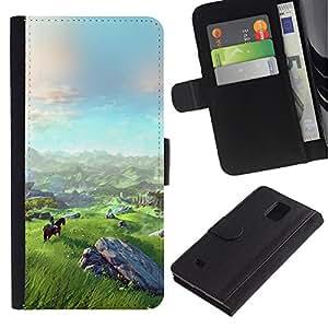 KingStore / Leather Etui en cuir / Samsung Galaxy Note 4 IV / Paisaje Vista monta?a Equitación Arte