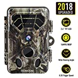 Trail Camera - HOMCOM Trail Camera 16MP 1080P, Game Camera with No Glow Night Vision Up to 65ft, 0.2s Trigger Time Motion Activated, 2.4