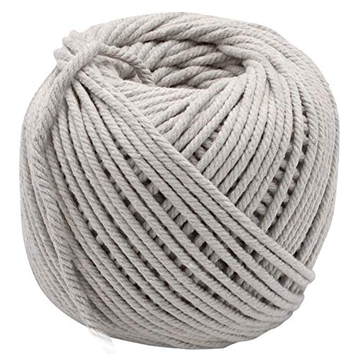 (Macrame Rope - 4mm Cotton Cord - Craft Supplies for DIY Projects, Water Hammock, Dream Catcher, Bohemian Plant Hanger, Wall Hanging Decorations - Beige Knotting String - 109 Yards, 100 Meters)