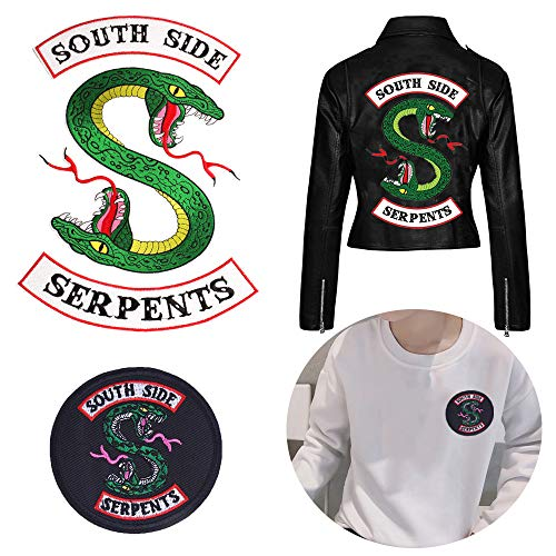 Riverdale TV Series Large Southside Serpents Patches 3 Piece Set and 1 Pcs Small Southside Serpents Logo Iron on or Sewn on Patches for Decorative Jacket, Hoodie, Sweatshirt, Clothes