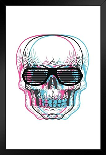 Skull with Shutter Sunglasses Art Print Framed Poster by ProFrames 14x20 (Kanye West Halloween Ideas)