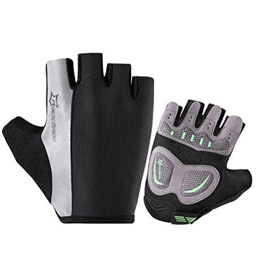 RockBros Mountain Bike Gloves Men Reflective Strap Cycling Gloves Half Finger Black